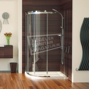 Aqualux Aqua 8 Roller (90x90x200 cm) douchecabine kwartrond 2 schuifdeuren Chroom 8 mm 52 cm deuringang