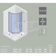 Riho Hamar (100x100x195 cm) douchecabine kwartrond 2 schuifdeuren 6 mm
