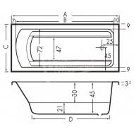 Beterbad Bodysize (190x90x50cm) Solobad 390L Acryl Wit