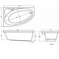 Plieger Cyprus (160x90x43.5cm) 175L Hoekbad Links Acryl Wit met Badpoten