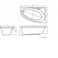Plieger Cyprus (160x90x43.5cm) 175L Hoekbad Rechts Acryl Wit met Badpoten met Paneel