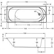 Plieger Flow (170x70x42cm) 195L Solobad Acryl Wit met Badpoten