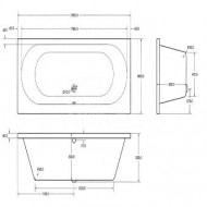 Plieger Wave (190x80x52cm) Duobad Acryl Wit met Badpoten