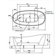 Vrijstaand Beterbad Isa (180x85x62/76cm) Solobad 230L Acryl Wit