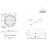 Villeroy & Boch Aqualoop Bad Acryl Rond 175 cm met Poten & Frame Wit