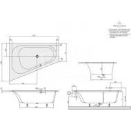 Villeroy & Boch Loop & Friends Oval Bad Acryl Offset 175x135 cm Links met Ovale Binnenvorm Wit