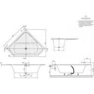Villeroy & Boch Loop & Friends Square Kunststof Duohoekbad Acryl 140x140 cm met Hoekige Binnenvorm Wit