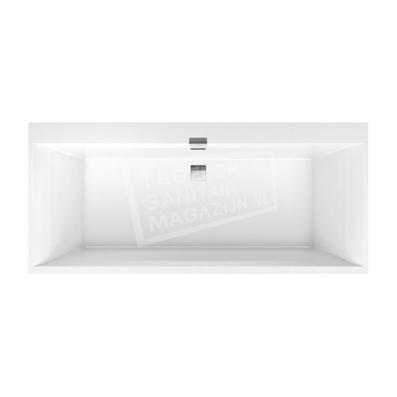 Villeroy & Boch Squaro Edge 12 Bad Quaryl Rechthoek 190x90x45 cm Incl. Poten & Afvoer /Overloopcombinatie Wit