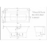 Villeroy & Boch Subway Bad 180x80 cm Acryl Wit