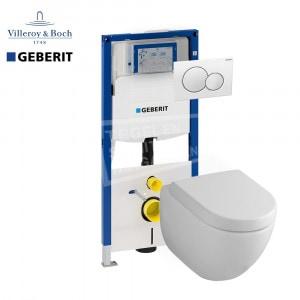 Villeroy & Boch Subway 2.0 toiletset met Geberit UP320 en Sigma01 bedieningspaneel