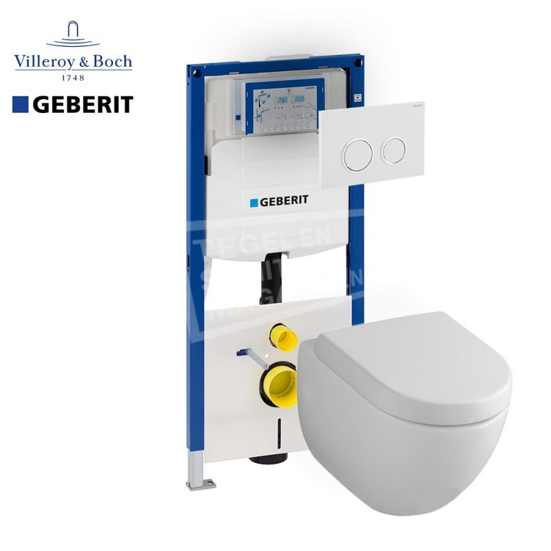 Villeroy & Boch Subway 2.0 direct flush toiletset met Geberit UP320 en Sigma20 bedieningspaneel
