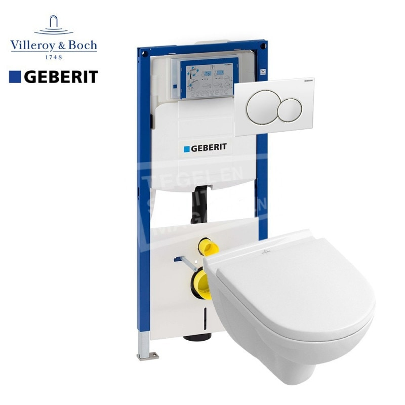 Villeroy & Boch O.novo direct flush toiletset met Geberit UP320 en Sigma01 bedieningspaneel