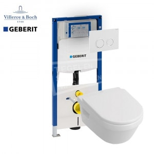 Villeroy & Boch Omnia Architectura direct flush toiletset met Geberit UP320 en Sigma20 bedieningspaneel