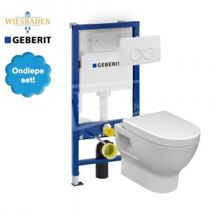 Wiesbaden Mercurius toiletset met Geberit UP100 en Delta21 bedieningspaneel