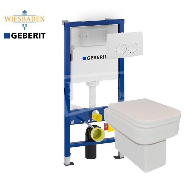 Wiesbaden Carré toiletset met Geberit UP100 en Delta21 bedieningspaneel