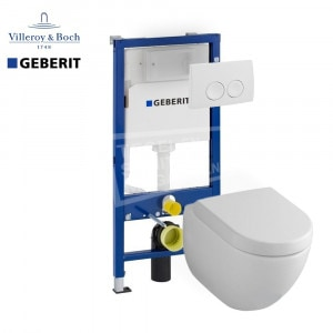 Villeroy & Boch Subway 2.0 direct flush toiletset met Geberit UP100 en Delta21 bedieningspaneel