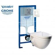 Duravit Starck 3 toiletset met Grohe Rapid SL en Grohe Sakte Cosmopolitan bedieningspaneel