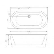 Best Design bad Black & White (178x80x55cm) incl. overloopcombi en click-waste