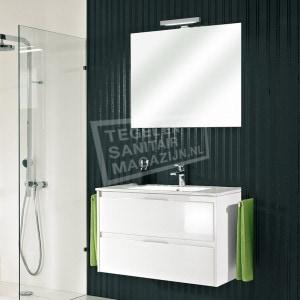 Pelipal Calypsos badmeubelset 90cm hoogglans wit met spiegel incl. opbouw LED-verlichting
