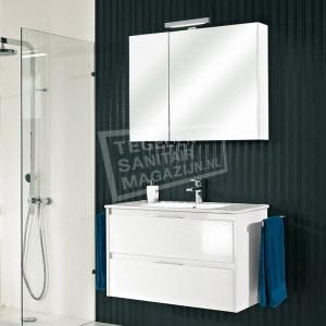 Pelipal Calypsos badmeubelset 90cm hoogglans wit met spiegelkast incl. opbouw LED-verlichting