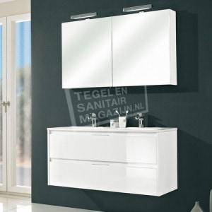 Pelipal Calypsos badmeubelset 120cm hoogglans wit met spiegelkast incl. opbouw LED-verlichting
