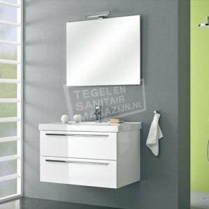 Pelipal Cubic badmeubelset 90cm hoogglans wit met spiegel incl. opbouw LED-verlichting