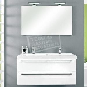 Pelipal Cubic badmeubelset 120cm hoogglans wit met spiegel incl. opbouw LED-verlichting