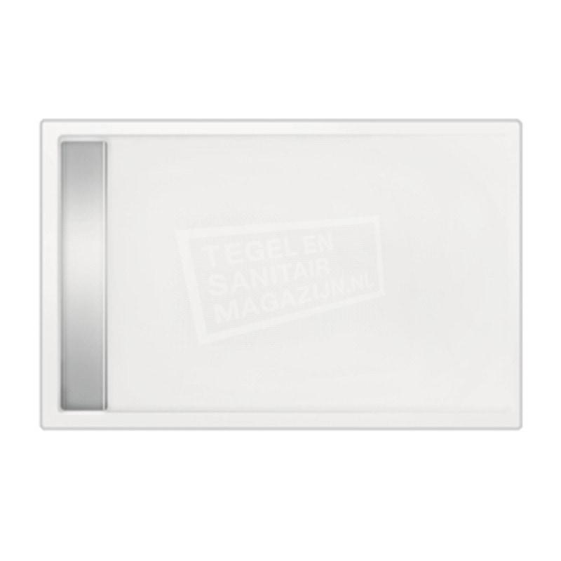 Beterbad Easy Tray (120x100x5 cm) douchebak Rechthoek Wit Gootcover RVS Glans