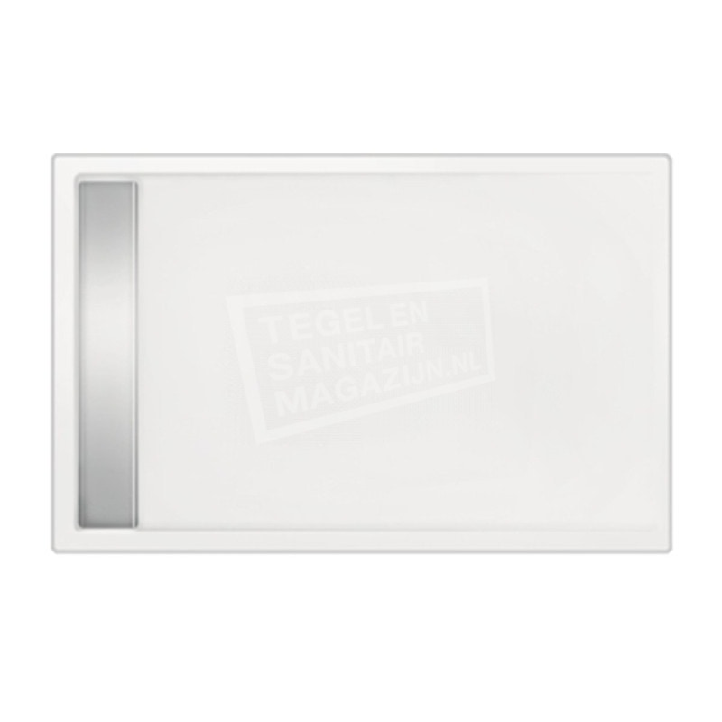 Beterbad Easy Tray (120x80x5 cm) douchebak Rechthoek Wit Gootcover RVS Glans