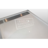 Beterbad Easy Tray (160x90x5 cm) douchebak Rechthoek Wit Gootcover RVS Glans