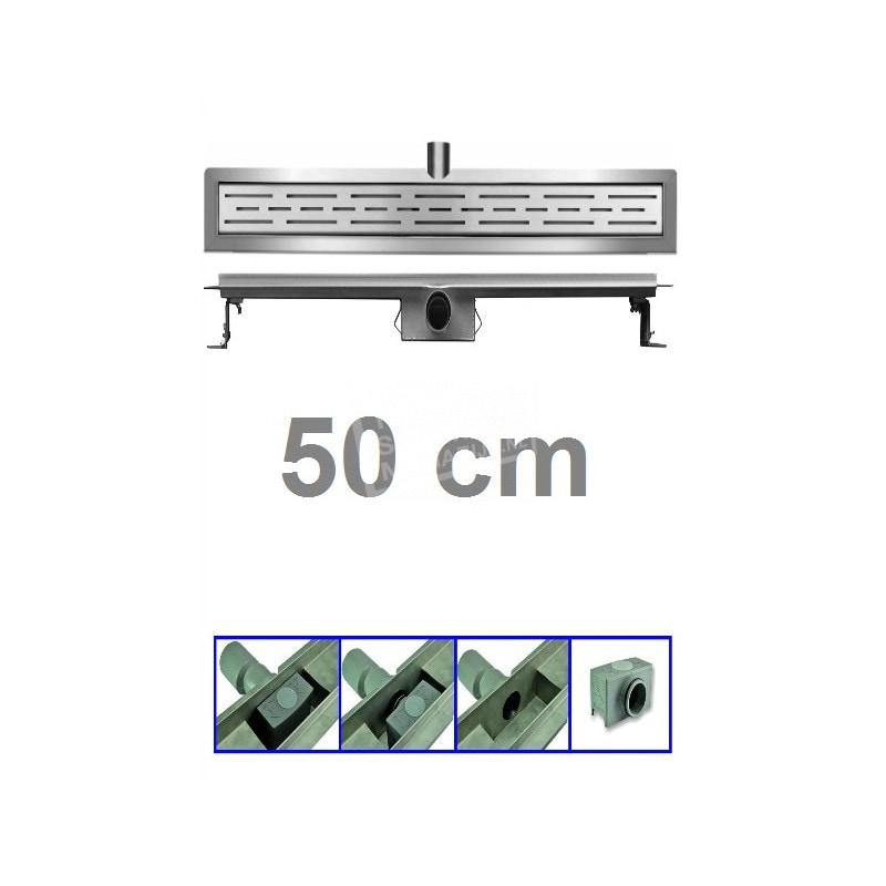 Douchegoot 50 cm RVS met Flens + Sifon en Rooster Douchedrain
