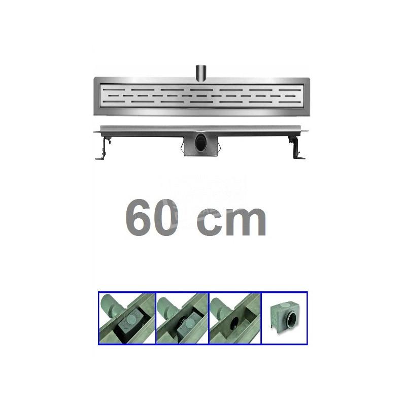 Douchegoot 60 cm RVS met Flens + Sifon en Rooster Douchedrain