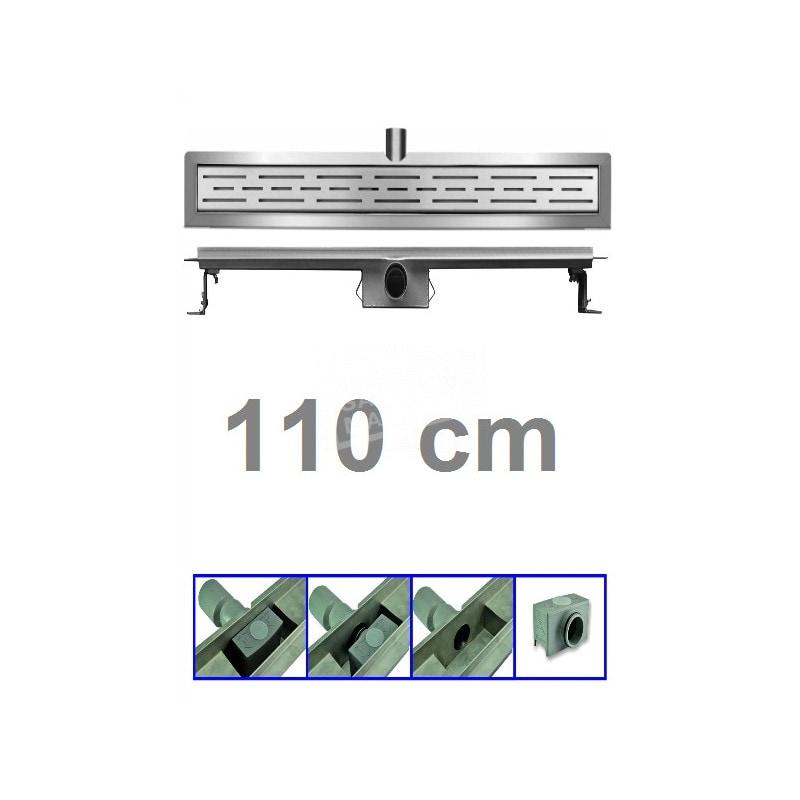 Douchegoot 110 cm RVS met Flens + Sifon en Rooster Douchedrain