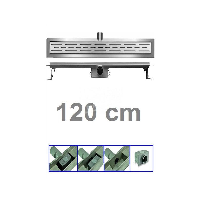 Douchegoot 120 cm RVS met Flens + Sifon en Rooster Douchedrain