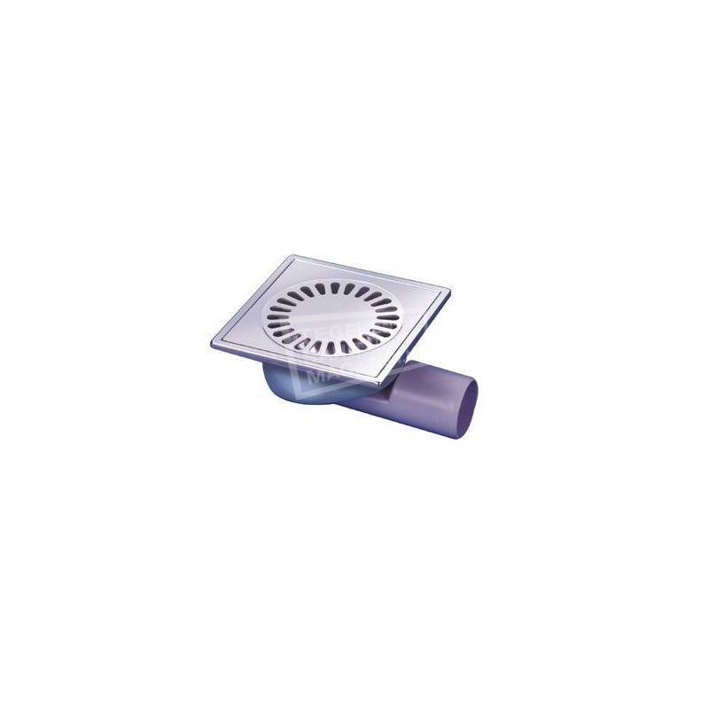 Aquaberg RVS vloerput zij- en onderuitlaat 50mm 15x15 cm