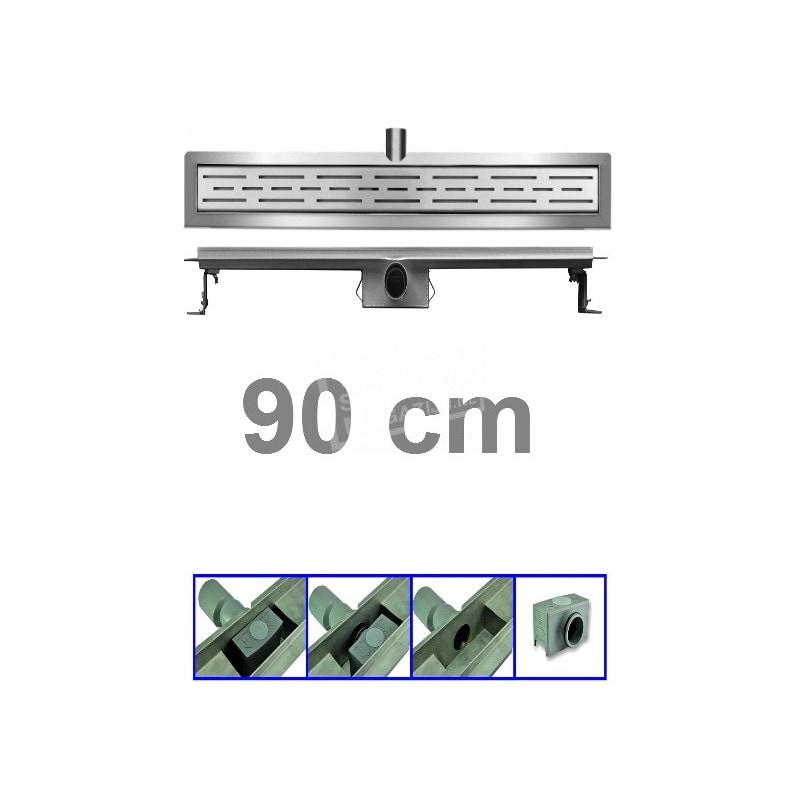 Douchegoot 90 cm RVS met Flens + Sifon en Rooster Douchedrain