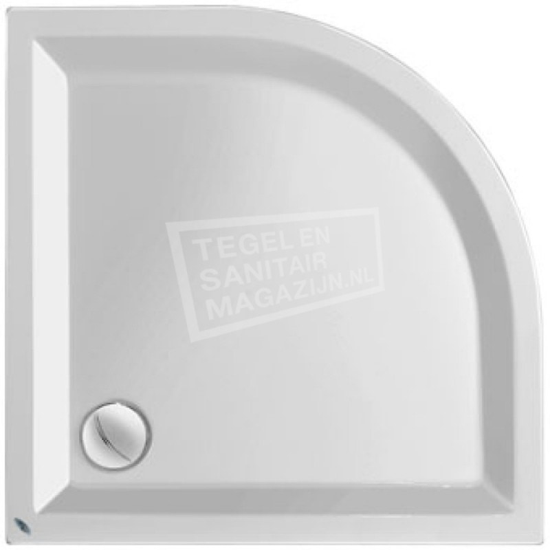 Plieger Kwadrant kunststof douchebak acryl kwartrond 90x90x5cm radius 55cm wit