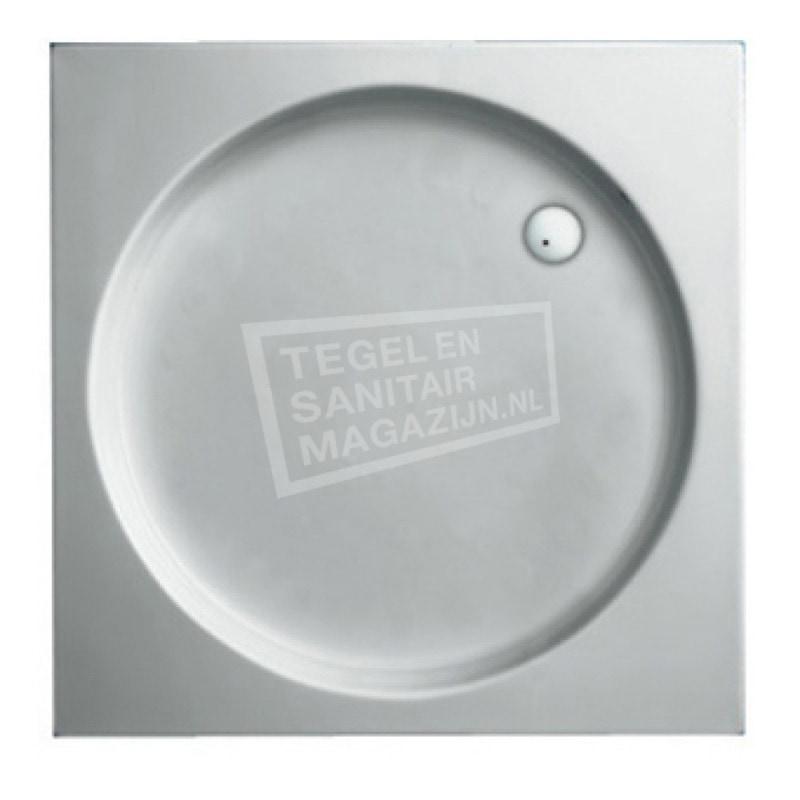 Plieger Luxury kunststof douchebak acryl vierkant 80x80x9cm inbouw m. antislip wit