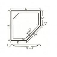 Beterbad Marshall (90x80x4 cm) douchebak Vijfhoekig Wit