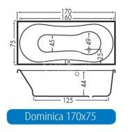Beterbad Dominica (170x75x44cm) Geintegreerd Douchegedeelte 200L Acryl Wit