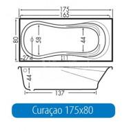 Beterbad Curacao (175x80x44cm) Geintegreerd Douchegedeelte 215L Acryl Wit