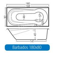 Beterbad Barbados (180x80x45cm) Geintegreerd Douchegedeelte 220L Acryl Wit