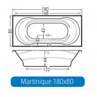 Beterbad Martinique (180x80x44cm) Duobad 200L Acryl Wit