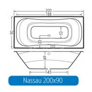 Beterbad Nassau (200x90x49cm) Duobad 350L Acryl Wit