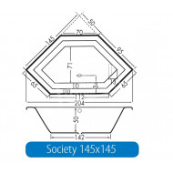 Beterbad Society145 (145x145x50cm) Hoekbad Ruimtebesparend 220L Acryl Wit