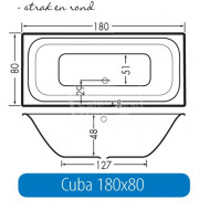 Beterbad Cuba (180x80x48cm) Duobad 275L Acryl Wit
