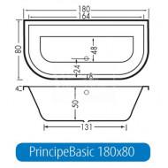Beterbad Principe Basic (180x80x50cm) Duobad 275L Acryl Wit