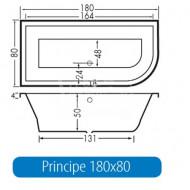 Beterbad Principe Rechts (180x80x50cm) Duobad 290L Acryl Wit