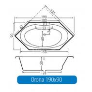 Beterbad Orona (190x90x50cm) Hoekbad Duobad 290L Acryl Wit