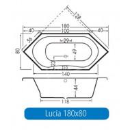 Beterbad Lucia (180x80x44cm) Hoekbad Duobad 240L Acryl Wit